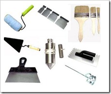 Инструменты для штукатурных и малярных работ.