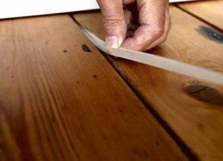 Заделка щелей в деревянном полу, заделка швов в деревянном полу.